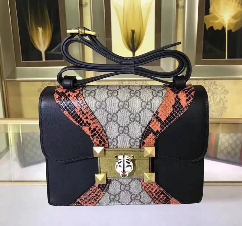 Gucci Osiride Small GG Shoulder Bag 497995 Black&Brown Leather