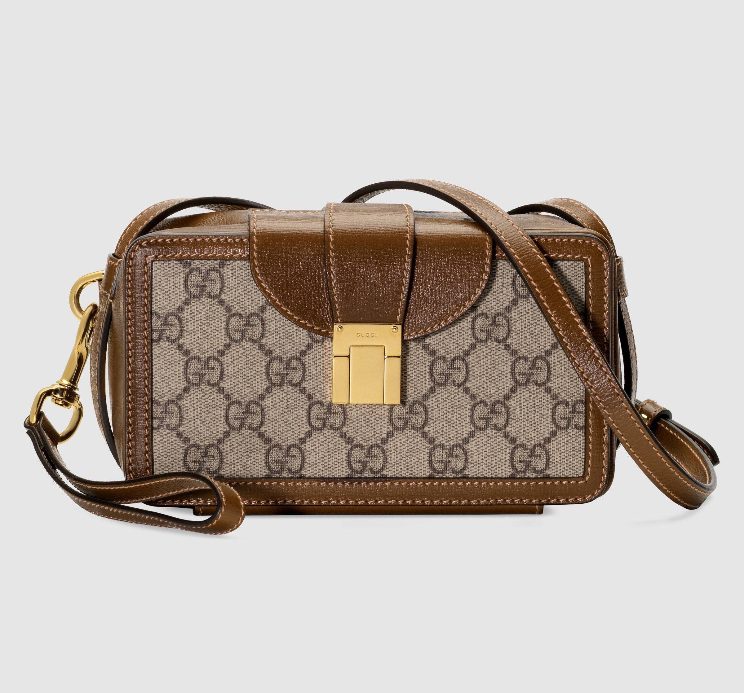 Gucci GG Mini Bag with Clasp Closure 614368 Brown Leather