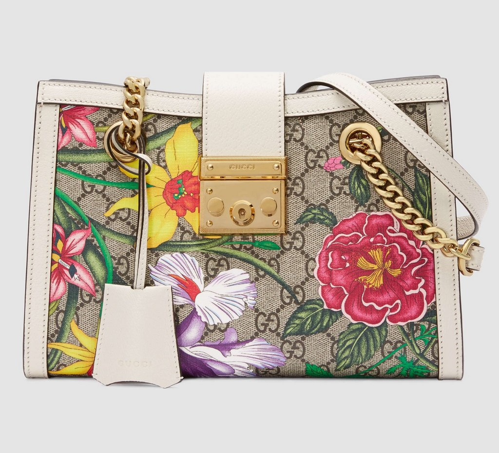 Gucci Padlock GG Flora Small Shoulder Bag 498156 White Leather