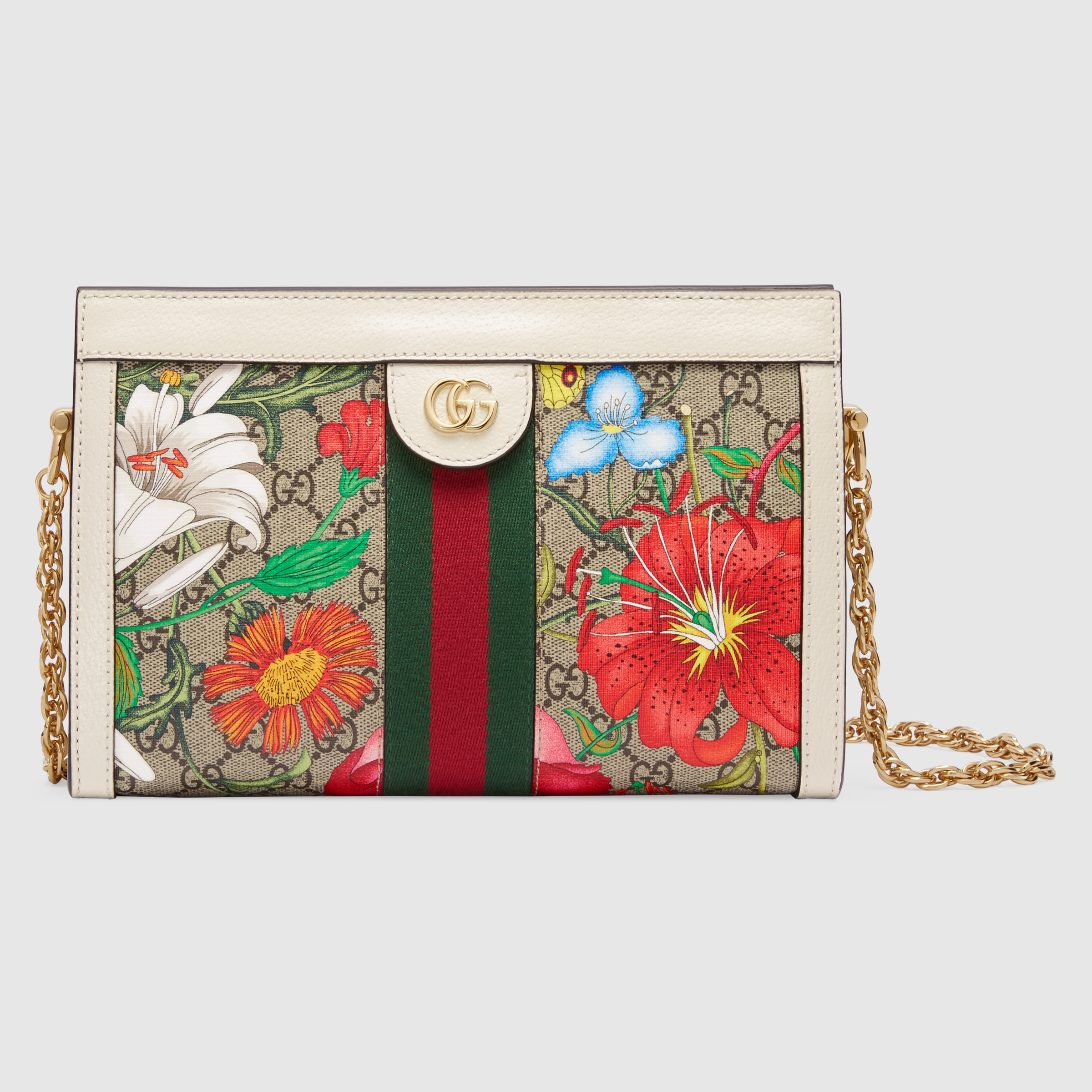 Gucci Ophidia GG Flora Small Shoulder Bag 503877 White Leather