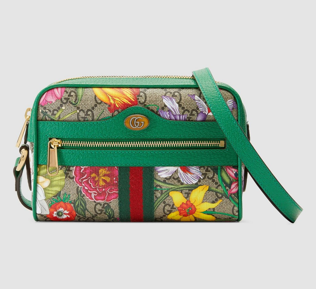 Gucci Ophidia GG Flora Mini Bag 517350 Green Leather