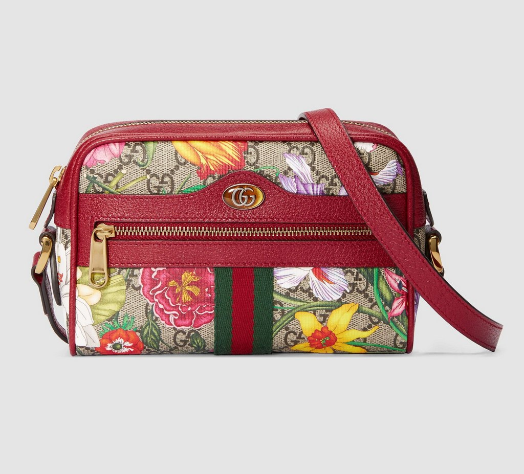 Gucci Ophidia GG Flora Mini Bag 517350 Red Leather