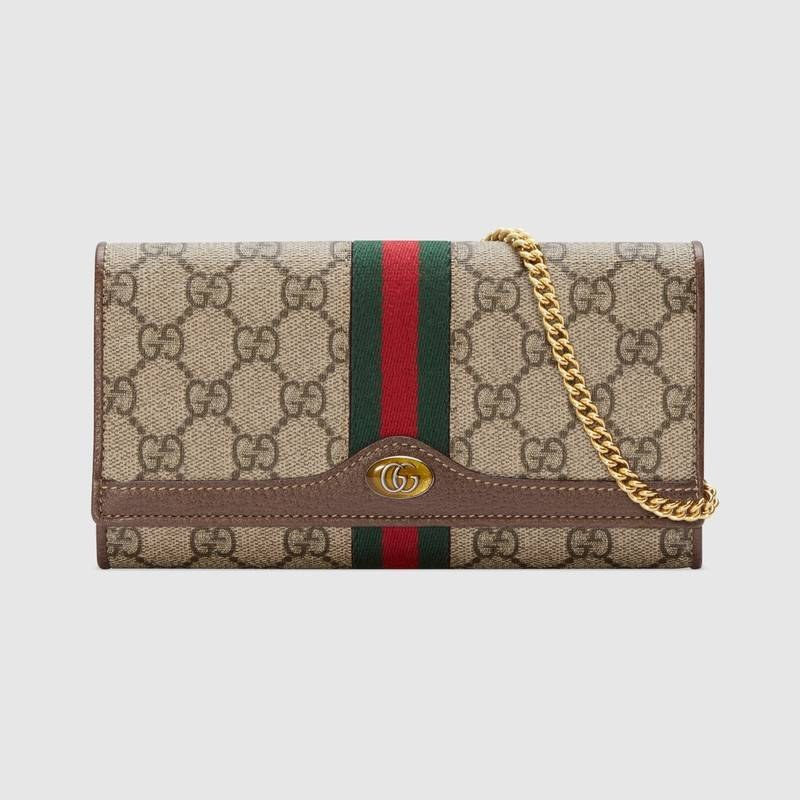 Gucci Ophidia GG Chain Bag 546592 Brown Leather