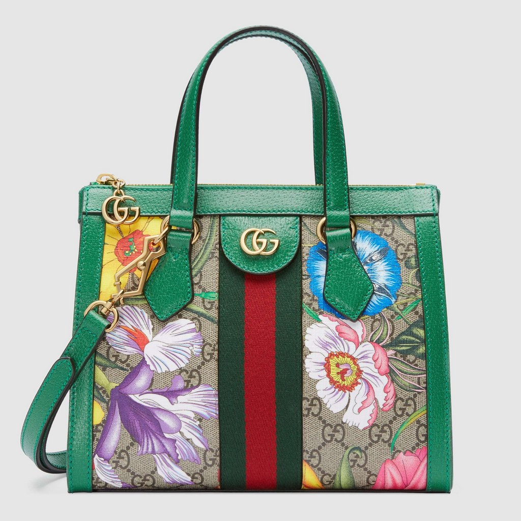 Gucci Ophidia GG Flora Small Tote Bag 547551 Green Leather