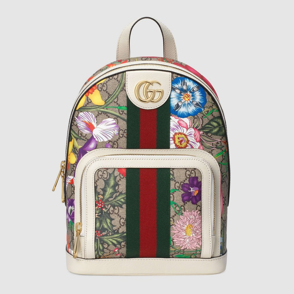 Gucci Ophidia GG Flora Small Backpack 547965 White Leather