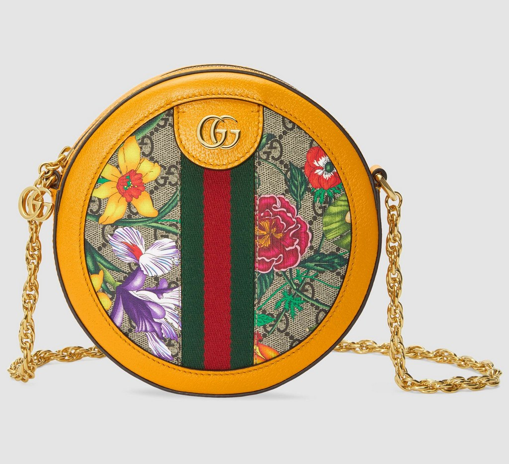 Gucci Ophidia GG Flora Mini Round Shoulder Bag 550618 Yellow Leather