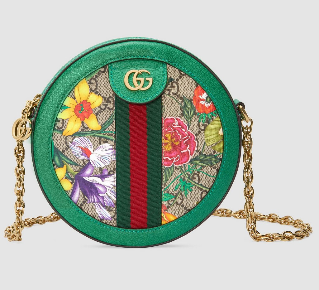 Gucci Ophidia GG Flora Mini Round Shoulder Bag 550618 Green Leather