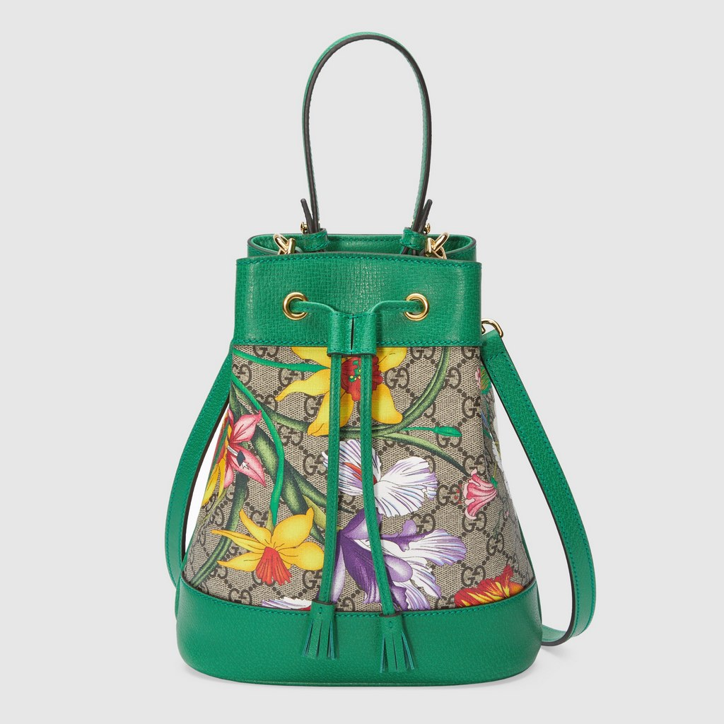 Gucci Ophidia GG Flora Small Bucket Bag 550621 Green Leather