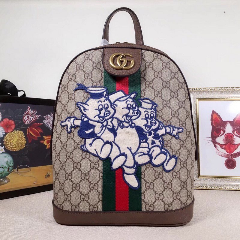 61ed375e285 ... Gucci Ophidia GG Backpack with Three Little Pigs 552884 Brown Leather  ...