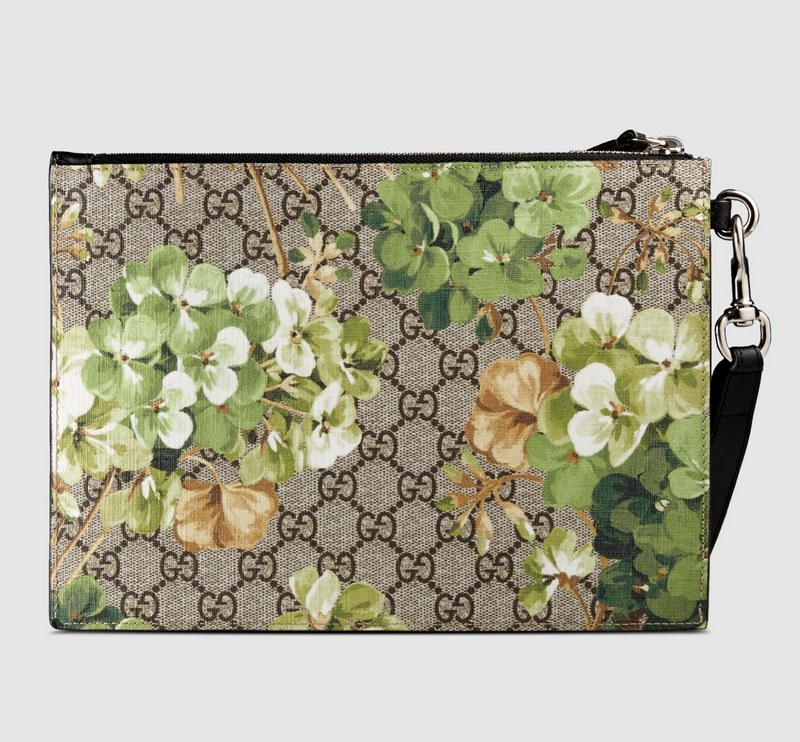 Gucci GG Blooms Pouch 411691 Black Leather