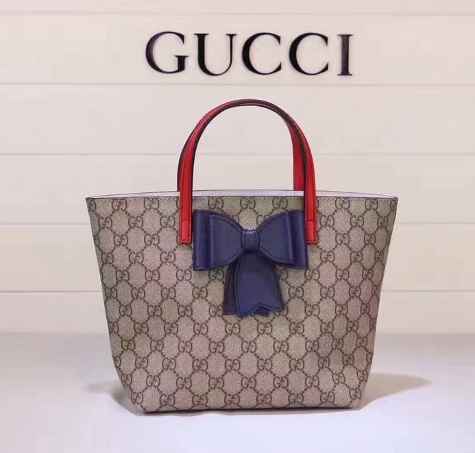 a698f5151b3 Gucci Children s GG Supreme Bow Tote 457232 Blue  457232 Blue ...