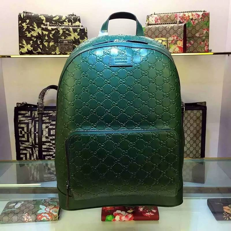 Gucci Signature Leather Backpack 406370 Green 406370