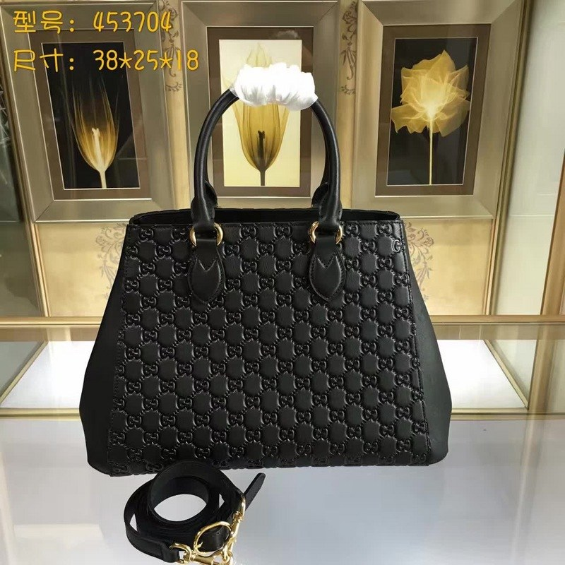 Gucci Signature Leather Top Handle Bag 453704 Black