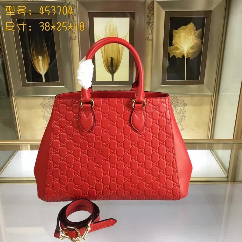 Gucci Signature Leather Top Handle Bag 453704 Red
