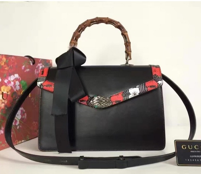 Gucci Lilith Leather Top Handle Bag 453751 Black