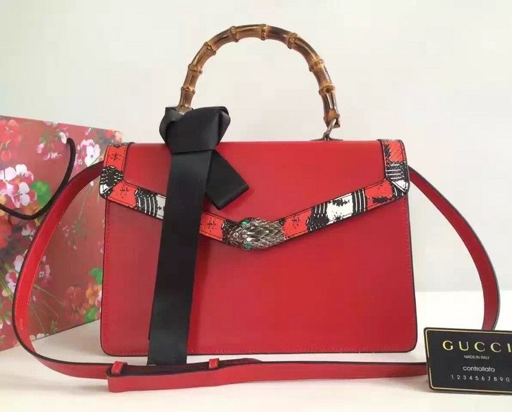 Gucci Lilith Leather Top Handle Bag 453751 Red