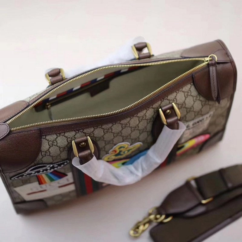 06acfb877771 ... Gucci Courrier Soft GG Supreme Duffle Bag 459311 Brown Leather ...