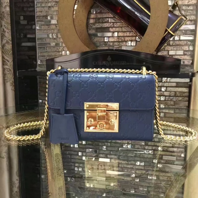 723f41e613b Gucci Padlock Gucci Signature Shoulder Bag 409487 Blue  409487 Blue ...