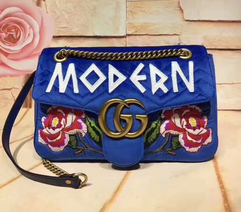 Gucci GG Marmont Embroidered Velvet Bag 443496 Blue