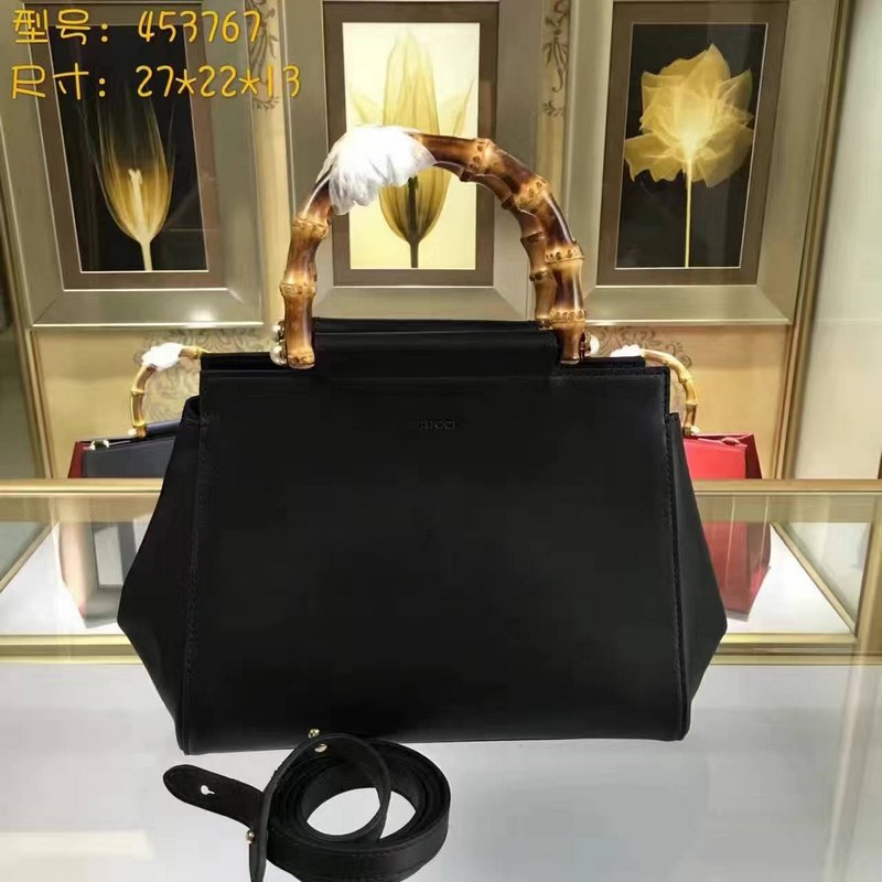 Gucci Nymphaea Leather Top Handle Bag 453767 Black