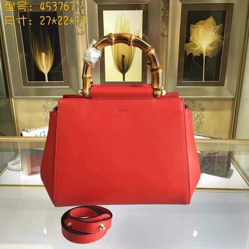 Gucci Nymphaea Leather Top Handle Bag 453767 Red