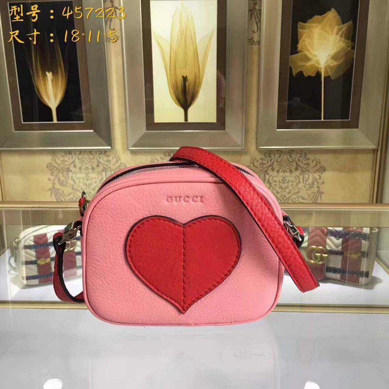 Gucci Children's Leather Heart Messenger 457223 Pink