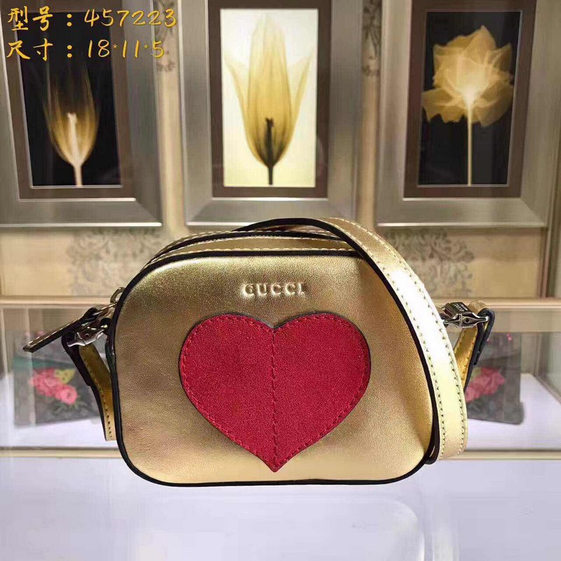Gucci Children's Leather Heart Messenger 457223 Gold