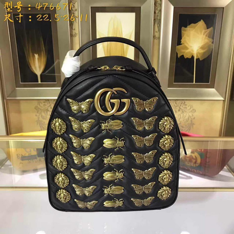2353266918e Gucci GG Marmont Animal Studs Leather Backpack 476671 Black