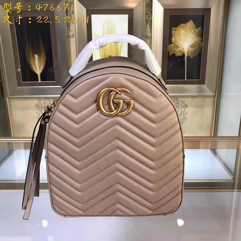 Gucci GG Marmont Quilted Leather Backpack 476671 Beige