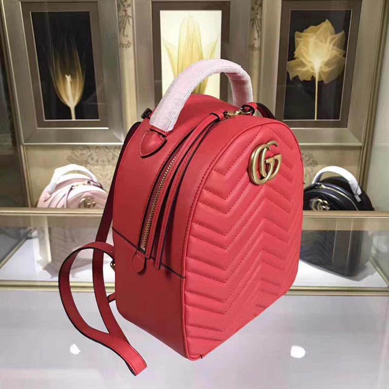 3556b6fd48f Gucci GG Marmont Quilted Leather Backpack 476671 Red  476671 Red ...
