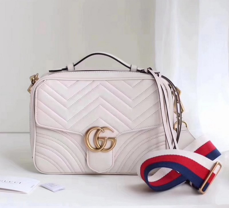 Gucci GG Marmont Small Shoulder Bag 498100 White