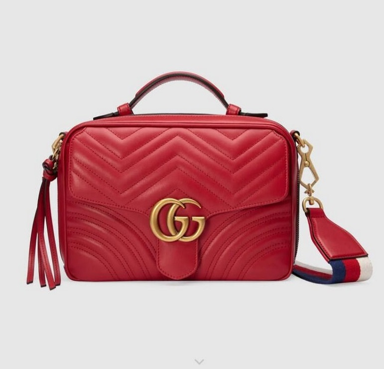 Gucci GG Marmont Small Shoulder Bag 498100 Red