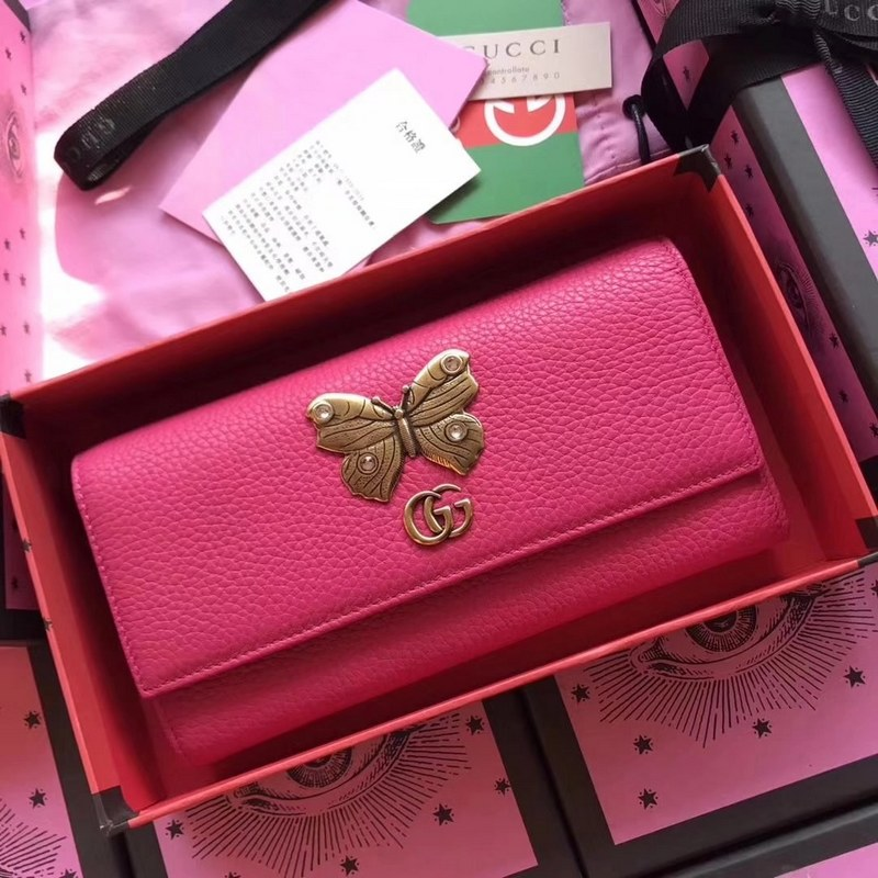 Gucci Leather Continental Wallet with Butterfly 499359 Bright Pink