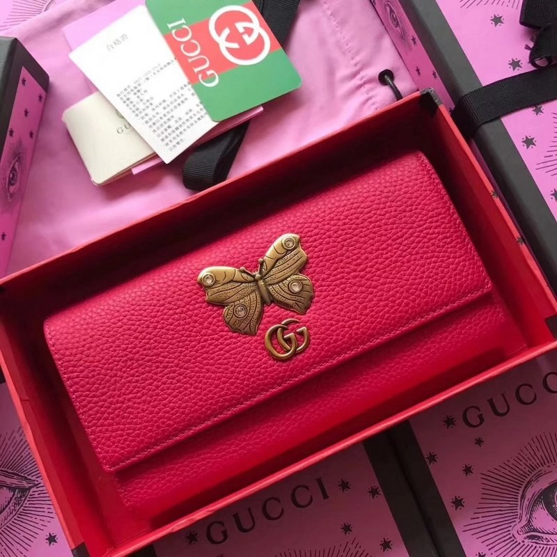 Gucci Leather Continental Wallet with Butterfly 499359 Red