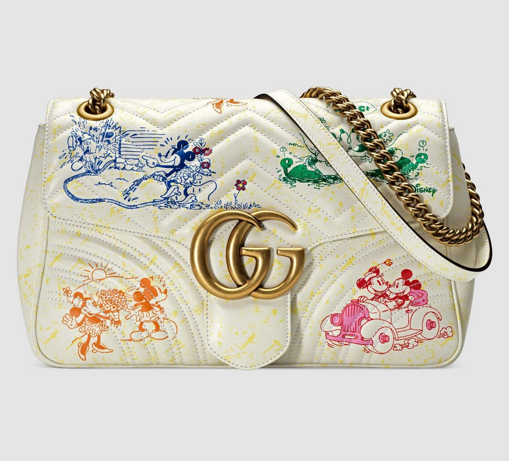 Gucci Disney X Gucci GG Marmont Medium Shoulder Bag 443496 White
