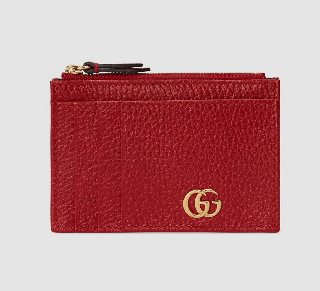 Gucci GG Marmont Card Case 574804 Hibiscus Red