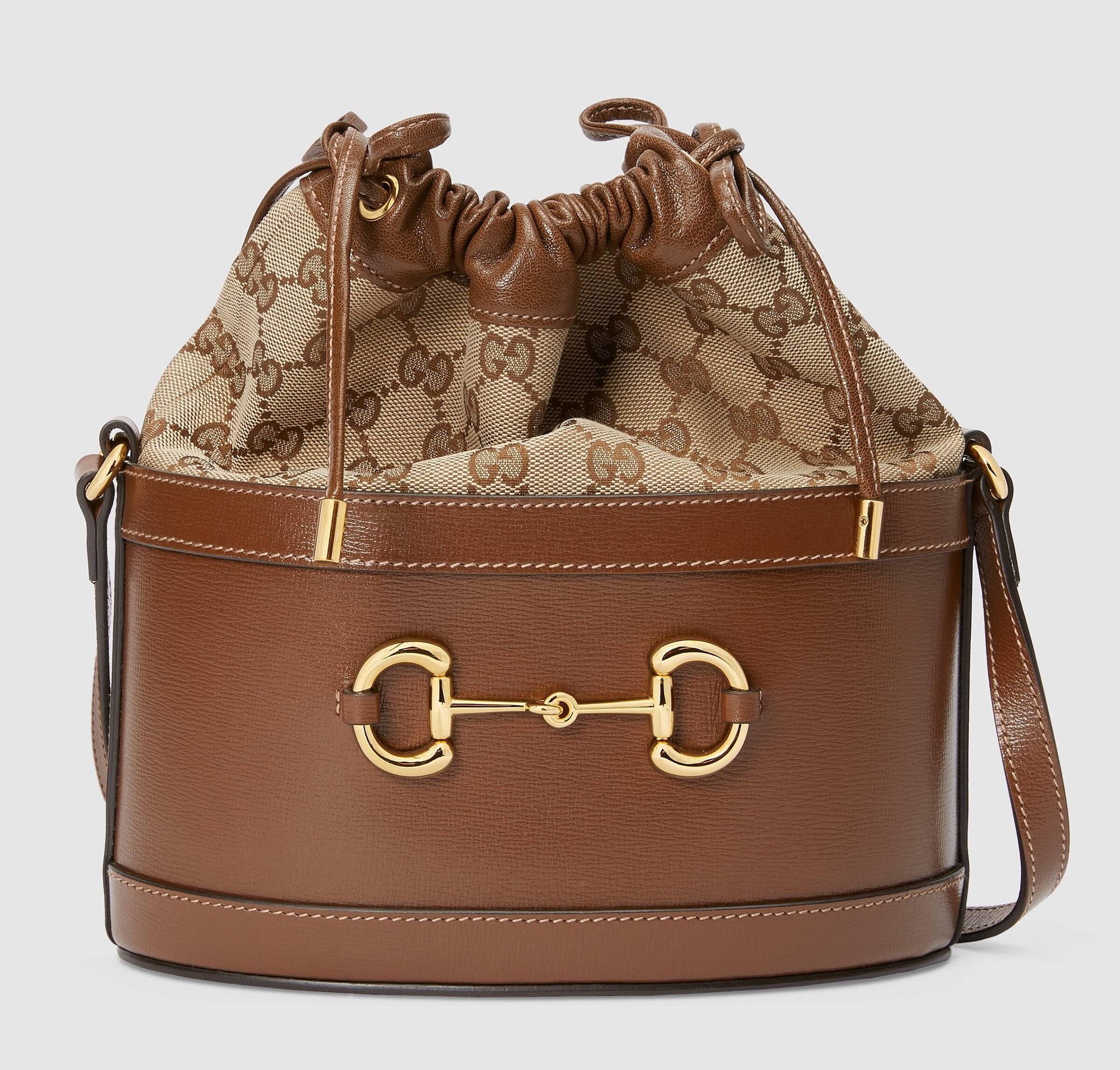 Gucci 1955 Horsebit Bucket Bag 602118 Brown Leather