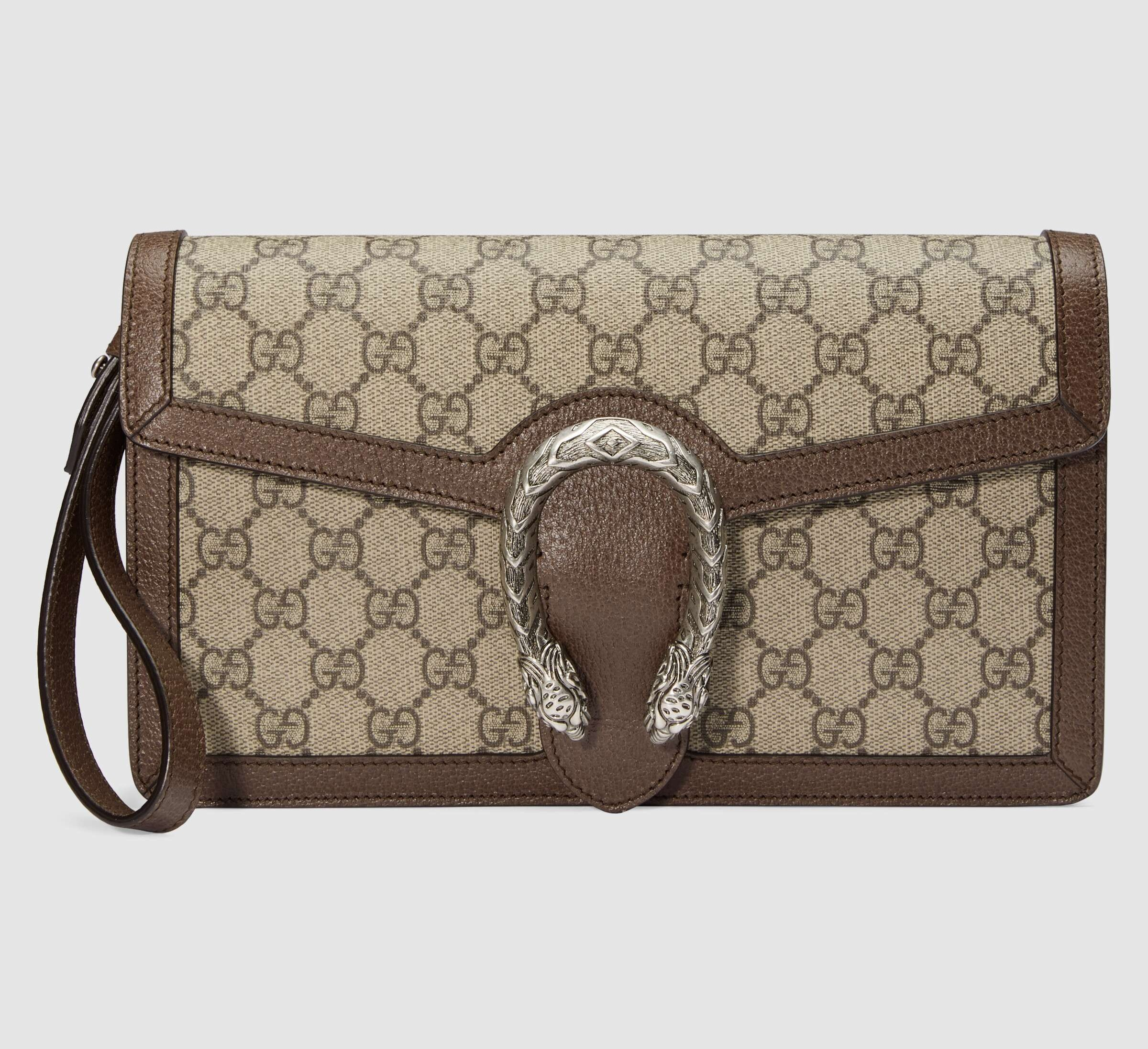 Gucci Dionysus GG Supreme Clutch 621197 Brown Leather