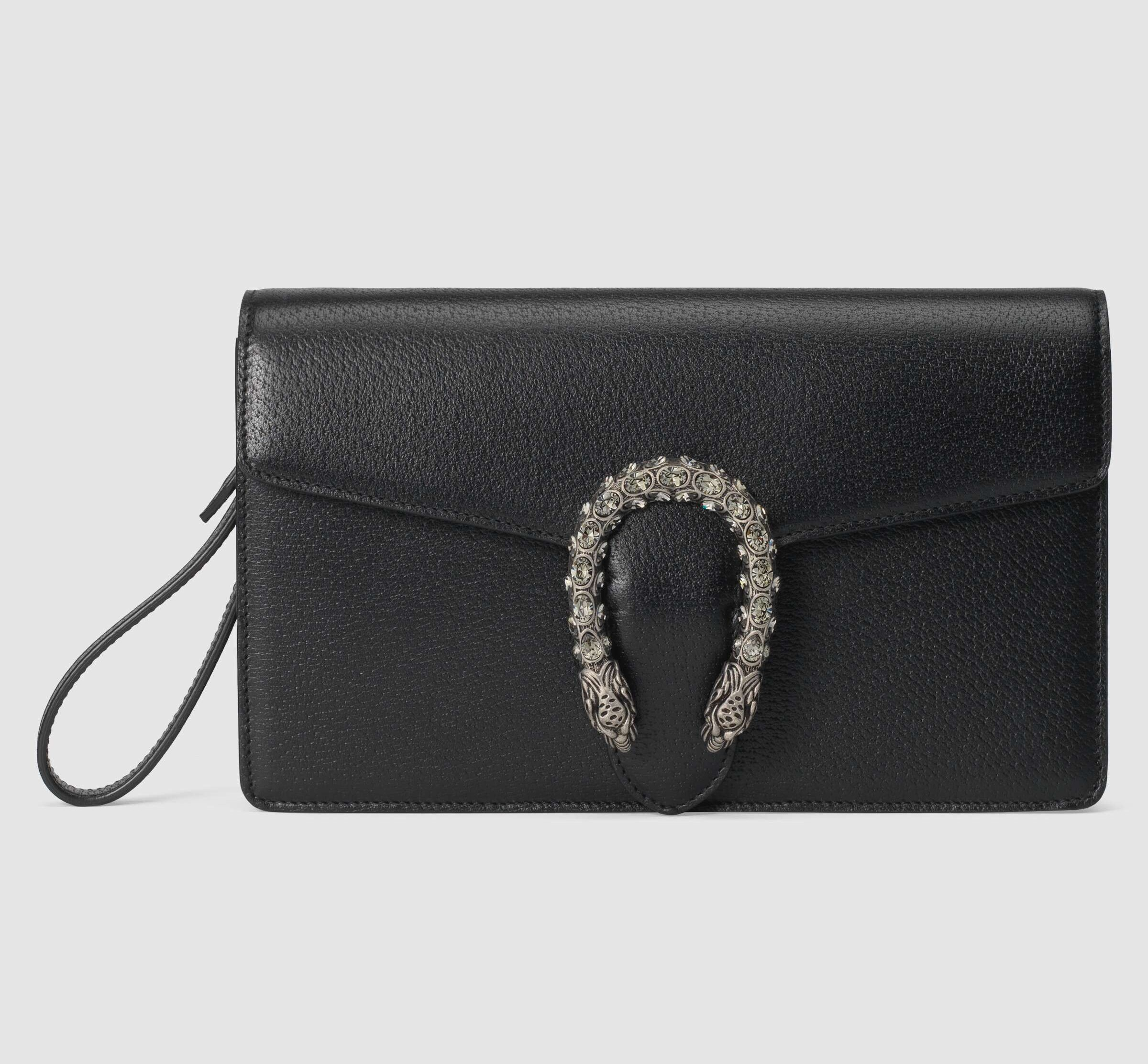 Gucci Dionysus Leather Clutch 621197 Black