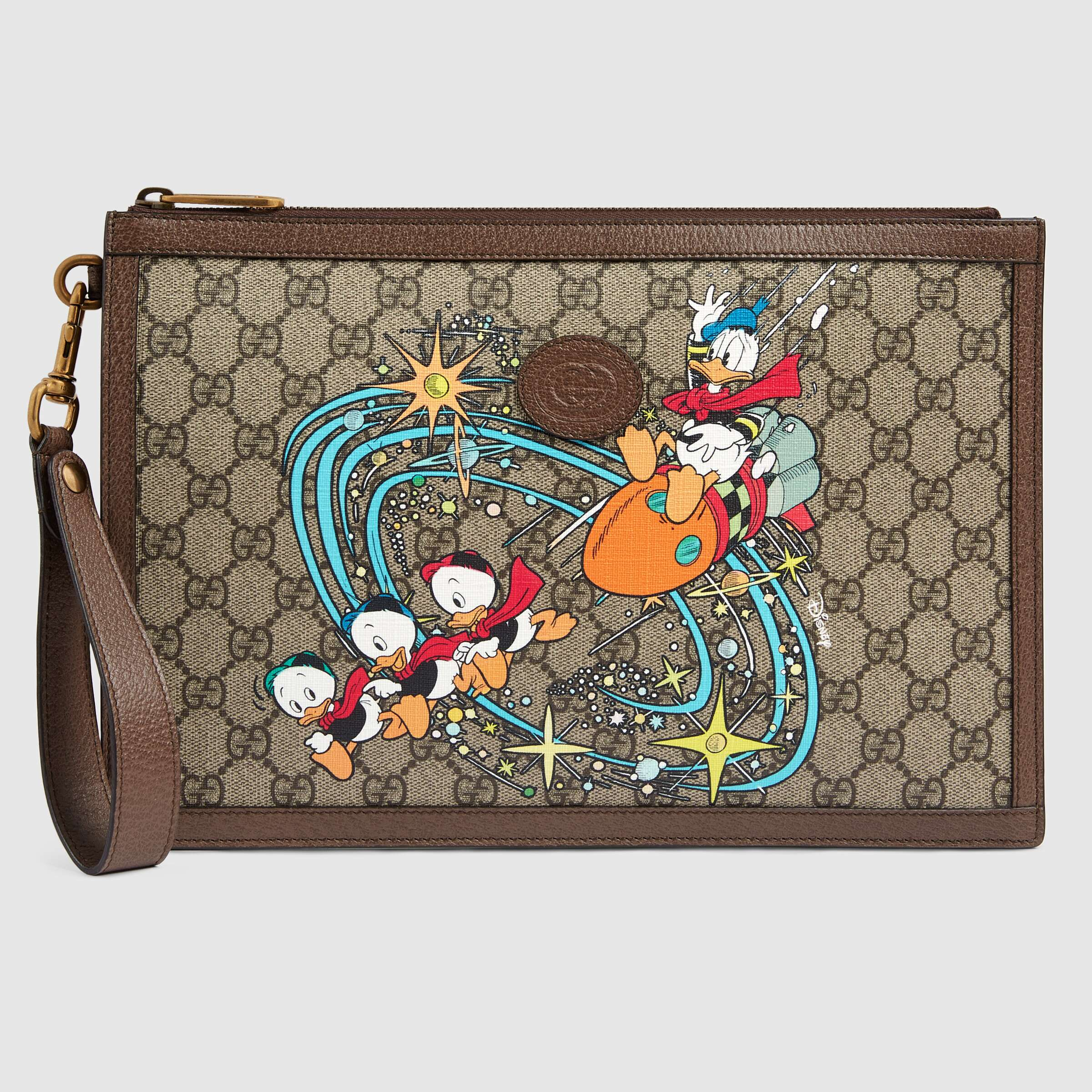 Gucci Disney X Gucci Donald Duck Pouch 647925 Brown Leather