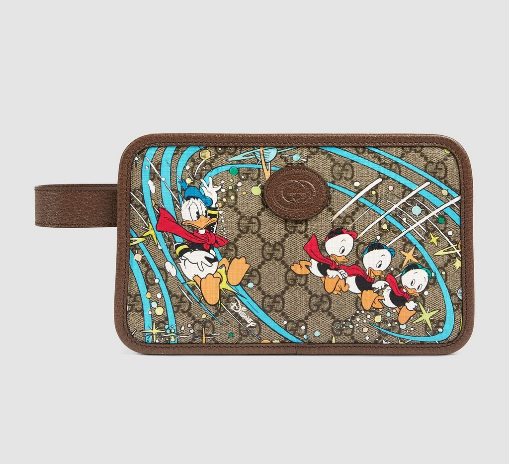 Gucci Disney X Gucci Donald Duck Cosmetic Case 647929 Brown Leather