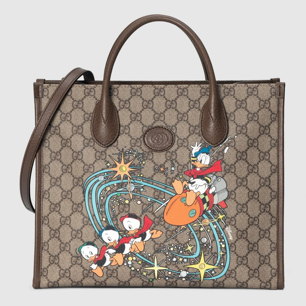 Gucci Disney X Gucci Donald Duck Tote Bag ‎648134 Brown Leather