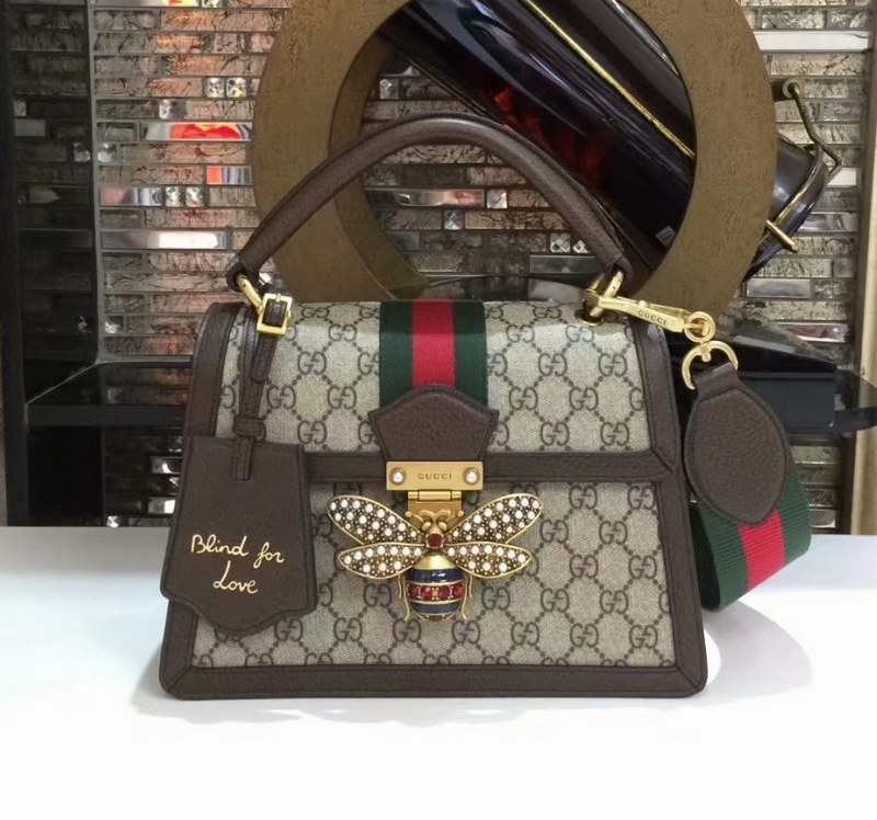 Gucci Queen Margaret GG Small Top Handle Bag 476541 Coffee Leather