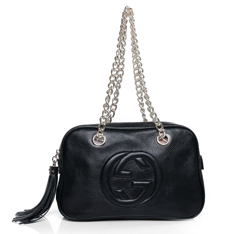 Gucci 308983 A7M0G 1000 Soho Black Leather Shoulder Bag with Double Chain Straps