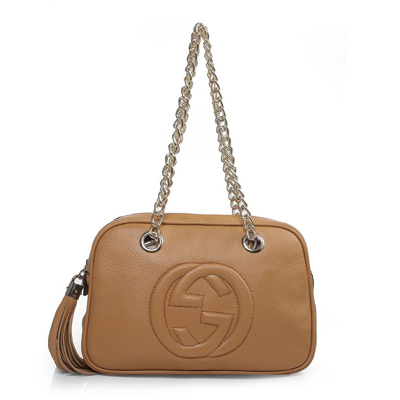 Gucci 308983 A7M0G 2609 Soho Cream Leather Shoulder Bag with Double Chain Straps