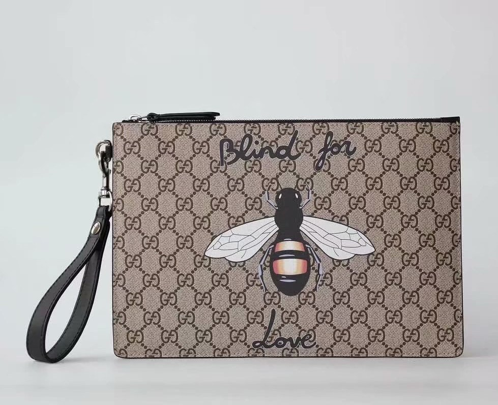 Gucci Bestiary Pouch with Bee 473904 Black Leather Trim