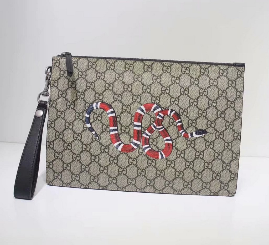 Gucci Bestiary Pouch with Kingsnake 473904 Black Leather Trim