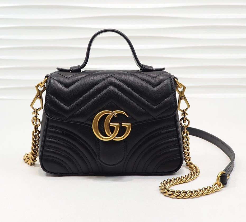 Gucci GG Marmont Mini Top Handle Bag 547260 Black