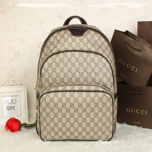 Gucci GG Supreme Canvas Backpack 322069 Coffee Leather Trim