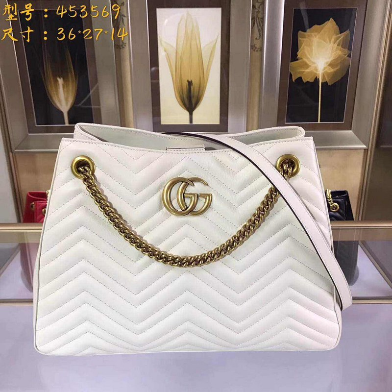 Gucci GG Marmont Matelasse Shoulder Bag 453569 White